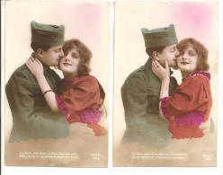 """HUMOUR - Lot De 2 Cartes - Couple Avec Un Militaire -  """"Si J´étais Près De Toi, Tu Lirais Dans Mes Yeux... - Humor"""