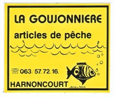 AUTOCOLLANT  STICKER   HARNONCOURT - LA GOUJONNIERE ARTICLES DE PECHE - Aufkleber