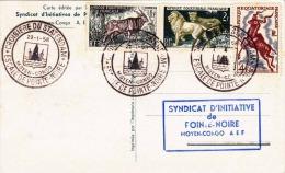 1958 AFRIQUE EQUATORIALE FRANCAISE, 4 Fach Frankierung Auf Maximum-Karte, Syndicat D'Initiative De Fointe-Noire ... - Frankreich (alte Kolonien Und Herrschaften)