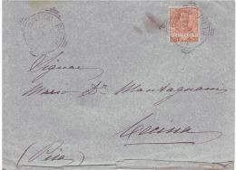 1905 Cent 20 VECon Bollo Tondo Riquadrato Di Potenza E Di Cecina(Pisa) - 1900-44 Victor Emmanuel III