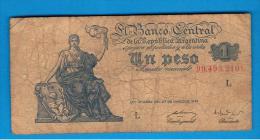 ARGENTINA -  1 Peso 1947  Muy Circulado  P-257 - Argentinië