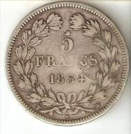 MONEDA DE PLATA DE FRANCIA DE 5 FRANCOS DEL AÑO 1834 LOUIS PHILIPPE I LETRA W (COIN) SILVER-ARGENT - J. 5 Francos