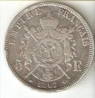 MONEDA DE PLATA DE FRANCIA DE 5 FRANCOS DEL AÑO 1867 NAPOLEON III LETRA A (COIN) SILVER-ARGENT - J. 5 Francos