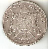 MONEDA DE PLATA DE FRANCIA DE 5 FRANCOS DEL AÑO 1870 NAPOLEON III LETRA A (COIN) SILVER-ARGENT - J. 5 Francos