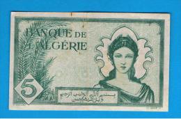 ARGELIA - 5 Francs 1942  Circulado  P-91 - Algérie