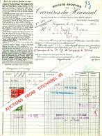 Facture 1938 SOIGNIES - CARRIERES DU HAINAUT - Exploitation De La Pierre Bleue Dite Petit Granit - Unclassified
