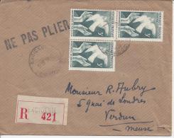 FR - 1946 - DORDOGNE -  LETTRE DE EXCIDEUIL , EN RECOMMANDE , A DESTINATION DE VERDUN - - 1921-1960: Moderne