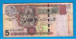 LIBIA - 5 Dinar ND  Circulado  P-65 - Libya