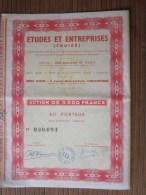 Carcassonne études Et Entreprises Troizé TITRE-ACTION 3000 Fr. Porteur(régime Législation Française 23 Mars 1944 — - Other