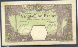 Aof French West Africa 25 Fr 1926  Nice Condition Dakar - Billets