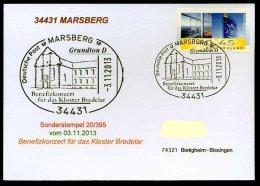 87615) BRD - SoST-Karte - 34431 MARSBERG Vom 3.11.2013 - Benefizkonzert Für Das Kloster Bredelar, Kirche - [7] République Fédérale