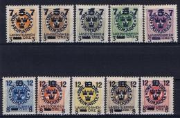 Sweden: 1916 Mi Nr 115 - 124 MH/*  Facit 126 - 135 , Signed / Geprüft