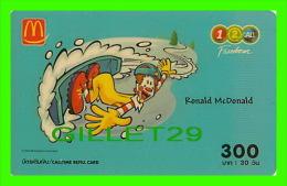 PHONESCARDS THAILAND -  RONALD McDONALD RESTAURANT - 300 - DEC, 2005 - TÉLÉCARTES - - Thaïlande