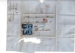 France Lettre Connaissement Via Steamer Navarre De Bordeaux Du Havre  4 Timbres 14B 1862 Port Payé Pour Montevideo - 1853-1860 Napoléon III