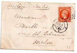 France Lettre Napoleon  N° 23 De 1863 De Paris Bureau F à Milan (Italie) Payé Jusqu'à Destination - 1862 Napoléon III