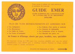 Guide Emer - Guide Européen Amateur Art, Antiquaire, Bibliophile 1979-1980 - Bon De Commande Au Verso - Werbepostkarten