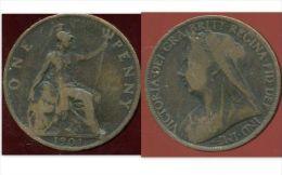 GRANDE BRETAGNE ( Royaume Uni )  One  1 Penny 1901 - 1816-1901 : Frappes XIX° S.