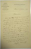 1873 Lettre Signée Las De Eugene Manuel Chef De Cabinet Jules Simon Fondateur Alliance Israelite Universelle Judaïca - Manuscrits
