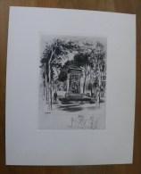 Fontaine MEDICIS Jardin Du Luxembourg Paris - Eau Forte Georges Capon Poème Tristan Derème - Laboratoires Galbrun - Prints & Engravings