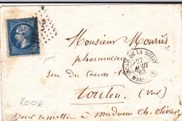 """1863 - EMPIRE - RARE CACHET MARITIME """"ESCADRE DE LA MEDITERRANEE - MARSEILLE"""" Sur ENVELOPPE Pour TOULON - Marcophilie (Lettres)"""