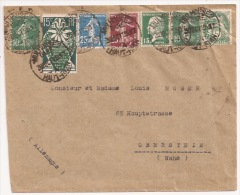 P959 - Autoplan MULHOUSE 2 GARE - A - Haut Rhin - 1925 - Pour Allemagne - Semeuse - Pasteur - Blanc - Expo Inter - - Postmark Collection (Covers)