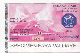 Romania Sodex Bond -  Bonus Ticket - Specimen - Rumania