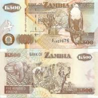 Zambia P-39a, 500 Kwacha,  Eagle / Elephant Head, Cotton Harvest $6CV - Zambie