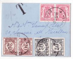 Env Carte De Visite Affr. N°479 X2 D'EUGIES/1952 Taxée à 1f40 (2 X20c + 2 X 50c) à Bruxelles - Taxes