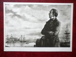 Kreutzwald In St. Petersburg Russia By E. Okas - Ship - Estonian Writer Fr. R. Kreutzwald - Estonian Art  - Unused - Peintures & Tableaux