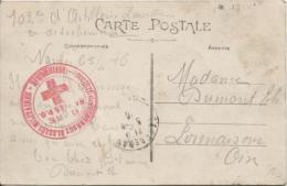 France CP En Franchise écrite De Nantes 5/4/16 102° D'Artillerie C.Rouge Soc.des Secours Aux Blessés Militaire PR327 - Marcophilie (Lettres)