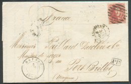 N°12 - Médaillon 40 Centimes Vermillon, Effleuré En Bas Sinon Belle Nuance Et Obl. 8 Barres P.21 Sur Lettre Datée De ELO - 1858-1862 Médaillons (9/12)