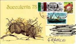 W] Lettre Afrique Du Sud RSA South Africa Affranchissement Mixte Mixed Stamping  Transkei Cactus Kaktus Bateau Ship - África Del Sur (1961-...)