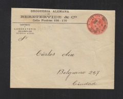 Argentina Stationery Cover 1903 Buenos Aires To Ciudad - Postal Stationery