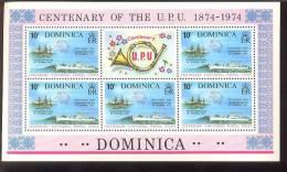 DOMINICA   418  MINT NEVER HINGED MINI SHEET OF CENTENARY U P U ; SHIPS - Schiffe