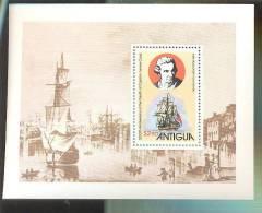 ANTIGUA   551  MINT NEVER HINGED SOUVENIR SHEET OF CAPT.JAMES COOK ; SHIPS   #  040-5   ( - Barcos
