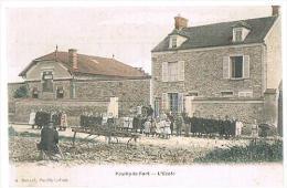CPA : Pouilly-le-Fort - L'école - Animée - Simi-aquarelle - - Non Classificati