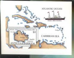 ANTIGUA  & BARBUDA   889 MINT NEVER HINGED  SHEET OF ROYAL VISIT ; SHIPS  ; MAP OF ANTIGUA - Schiffe