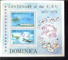 DOMINICA   419 A MINT NEVER HINGED MINI SHEET OF CENTENARY U P U ; SHIPS ; AIRMAIL - Schiffe