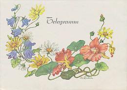 DDR Telegramm Schmuckblatt Lx 10 Blumenranke Mit Winde Wildblumen Fleurs - [6] Oost-Duitsland