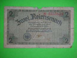 Germany,2 Reichsmark,damaged,banknote,paper Money,bill,vintage - [ 3] 1918-1933 : República De Weimar