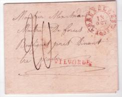 """L. 1832 Marque VILVORDE En Rouge + Càd """"BRUXELLES"""" + """"20"""" Pour Bouvignes. RR - 1830-1849 (Belgique Indépendante)"""