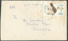 Lettre Affranchie 20ch. Oiseau Bird (Crimsonwinged Laughing Thrust).  Les Lettres Du Bhutan (Boutan) Sont Rares à Trouve - Bhutan