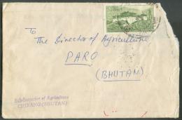 Lettre Affranchie 20ch. Temple Tempel (Simtokha Dzong) Vers Paro, Via Sarbang Et CHirang.  Les Lettres Du Bhutan (Boutan - Bhutan