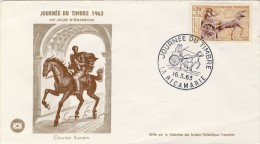FDC 1964 JOURNEE DU TIMBRE # TRANSPORT COURRIER A CHEVAL # ROMAIN # CHAR GALLO ROMAIN # DISTRIBUTION # FACTEUR - FDC