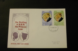 St Helena Royal Wedding Princess Anne With Day Of Issue Cancel 1973 A04s - Saint Helena Island