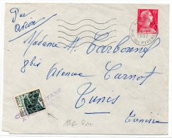 1957 - ENVELOPPE TAXEE à TUNIS (TUNISIE) Avec Un TIMBRE POSTE (RARE) - TAXE - MULLER - Tunisia (1956-...)