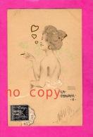 ART NOUVEAU - ILLUSTRATEUR RAPHAEL KIRCHNER - La Favorite II -  2 Scan - Cigarette, Fumée, Coeur, Smoked, Heart, Women - Kirchner, Raphael