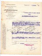 J.M. Monmousseau - Vins Blancs Supérieurs - Montrichard (Touraine) - 1933 - Alimentaire