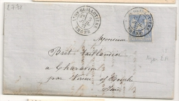 SAGE 25C Outremer, LYON-GUILLOTIERE Rhonesur Lettre. - Marcofilia (sobres)