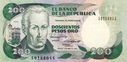 BILLET # COLOMBIE # 1989 # DEUX CENT PESOS ORO # NEUF # PICK 426 - Colombie